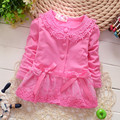New 2016 Autumn Baby Girls Candy-colored Cardigan Jacket Newborn/Infant Love Coat Fashion Korean Kids Lace Coat Children Jacket