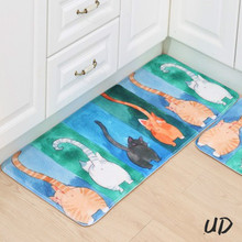 2017 Welcome Floor Mats Animal Cute Four Cats Printed Bathroom Kitchen Carpet House Doormats for Living Room Anti-Slip Rug