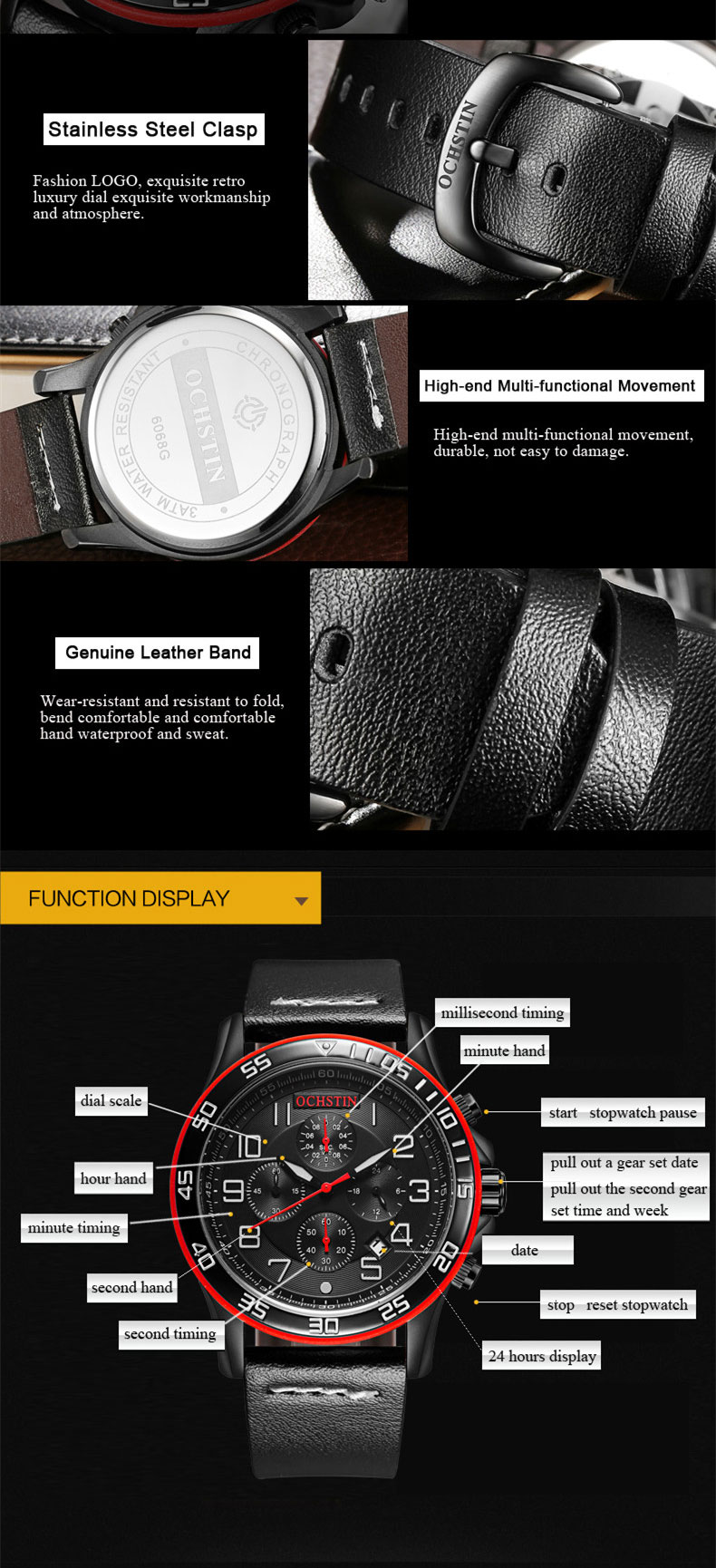 17 Men Watches Luxury Top Brand OCHSTIN Sports Chronograph Fashion Male Dress Leather Belt Clock Waterproof Quartz Wrist Watch 5