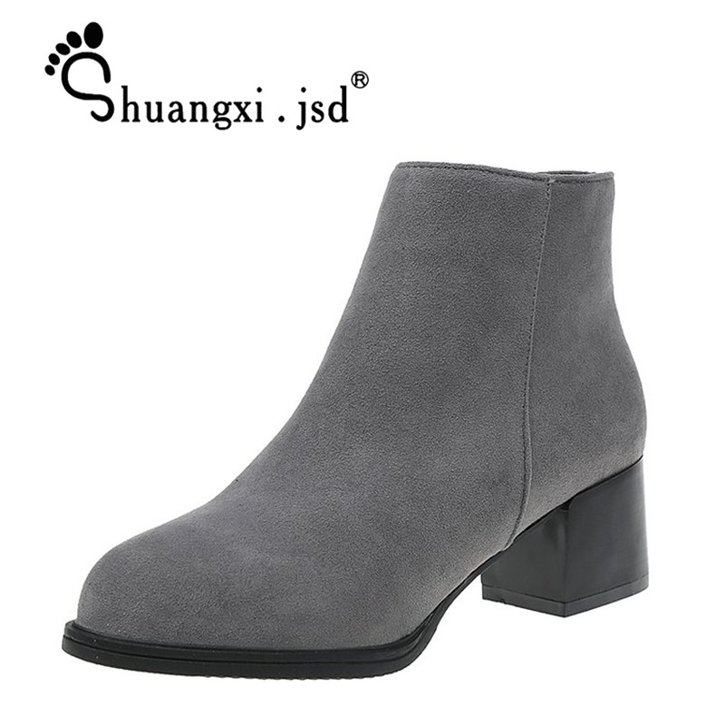 Shallow Mouth Women Shoes 2017 Fashion High 5CM Suede High-heeled Women Boots Normal Size 35-39 Zapatos Mujer Chaussure Femme