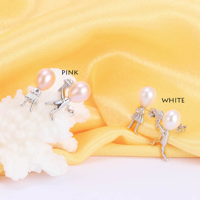 Dainashi 100% 925 sterling silver jewelry Romantic Propose Marriage Love Jewelry Natural Stone Freshwater Pearl Earrings Wedding
