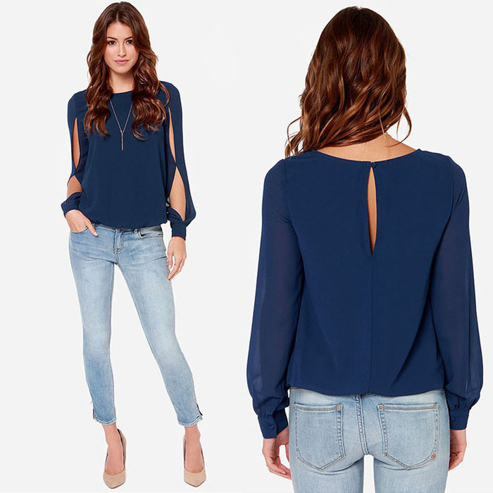 Shop2925092 StoreSanwony Fashion Women Loose Sexy Long-sleeved Chiffon Casual   Blouse     Shirt   Tops Blusas