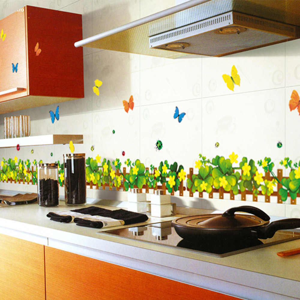 New Style Living Room Balcony Kitchen Baseboard Grass Butterfly Waist Decoration Stickers Affixed To The Foot