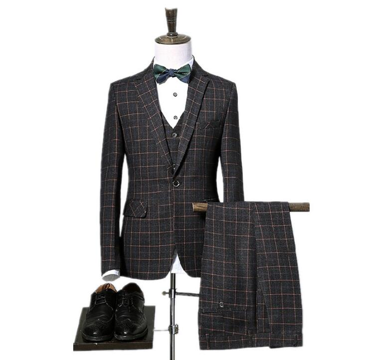 Jacket+pants+vest Costume Mariage Homme Plaid Wedding Suits Men Blazer Men Wedding Dress Stripe Men's Dress Suits Christmas Suit