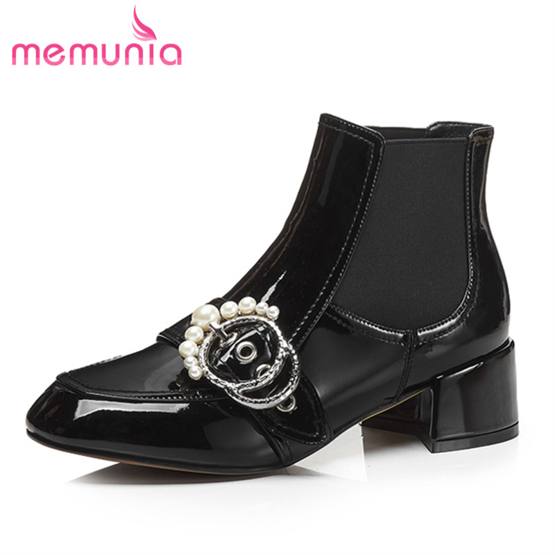 MEMUNIA 2018 new arrive patent leather ankle boots for women square toe autumn winter med heels boots top quality shoes womanMEMUNIA 2018 new arrive patent leather ankle boots for women square toe autumn winter med heels boots top quality shoes woman