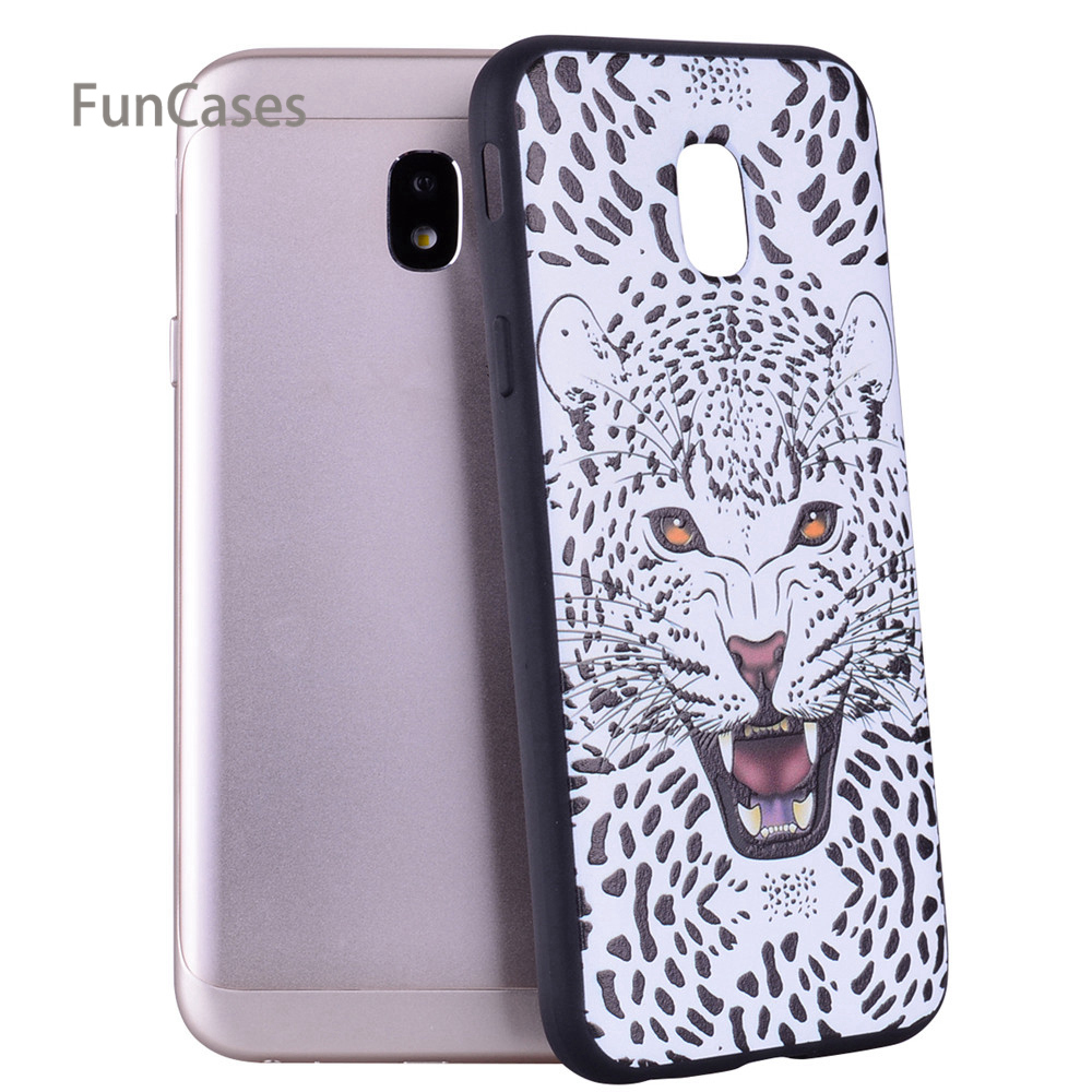 Cool Cat Relief Case sFor Hoesje Samsung J330 European Version Soft TPU Back Cover Celular For Samsung Galaxy J3 2017 EU Version