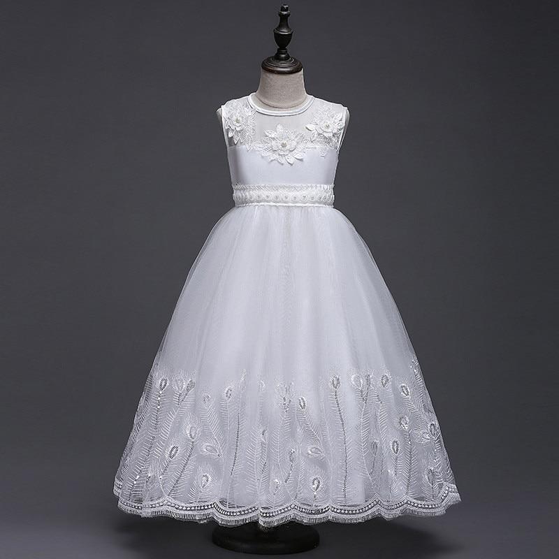 Princess Party Dresses For Girls Floral Ruffles Wedding Dresses Kids Prom Summer Long Sundress 4 6 8 10 12 Years Vestidos Cloth