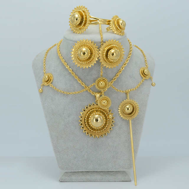 Big Size & Heavy Ethiopian Gold Jewelry sets Pendant Necklace/Earrings/Ring/Hair Pin/Forehead/Bangle Habesha Jewelry set #006502