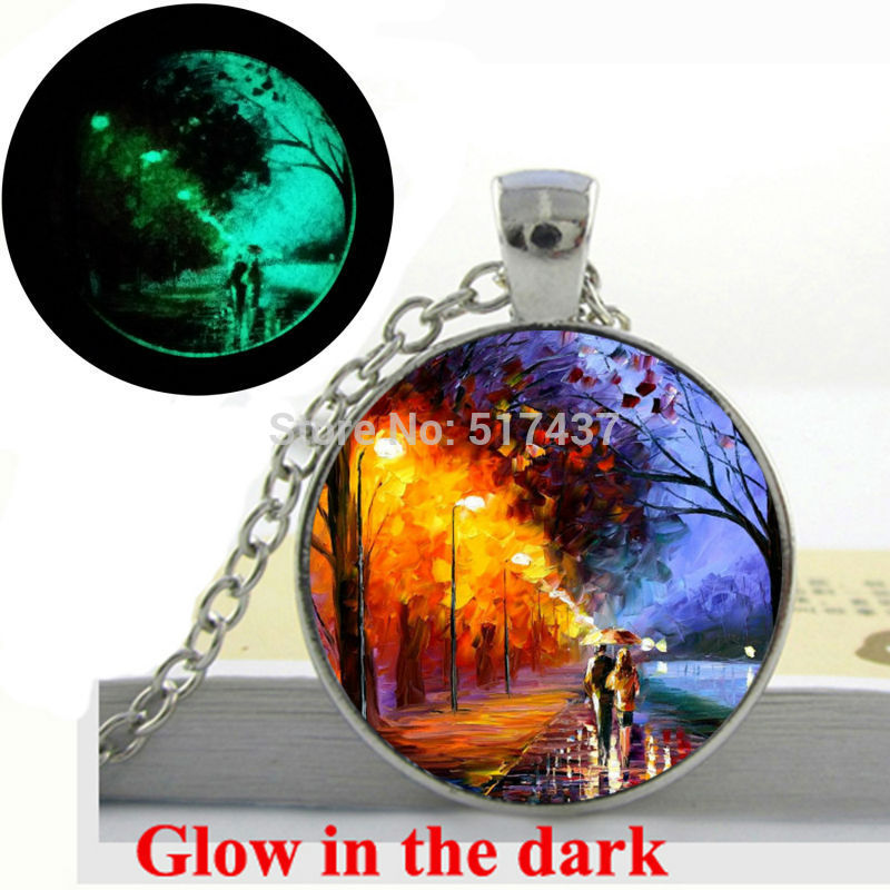 Glow in the Dark Pendant Alley By The Lake PALETTE KNIFE Landscape Scenic Modern Art Oil Painting glass photo Glowing jewelry