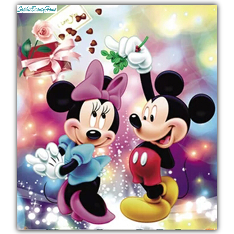 Sophie beauty home DIY painted diamonds 5D cross stitch full diamonds cartoon Mickey 3D inlaid diamond sewing craft home decorat