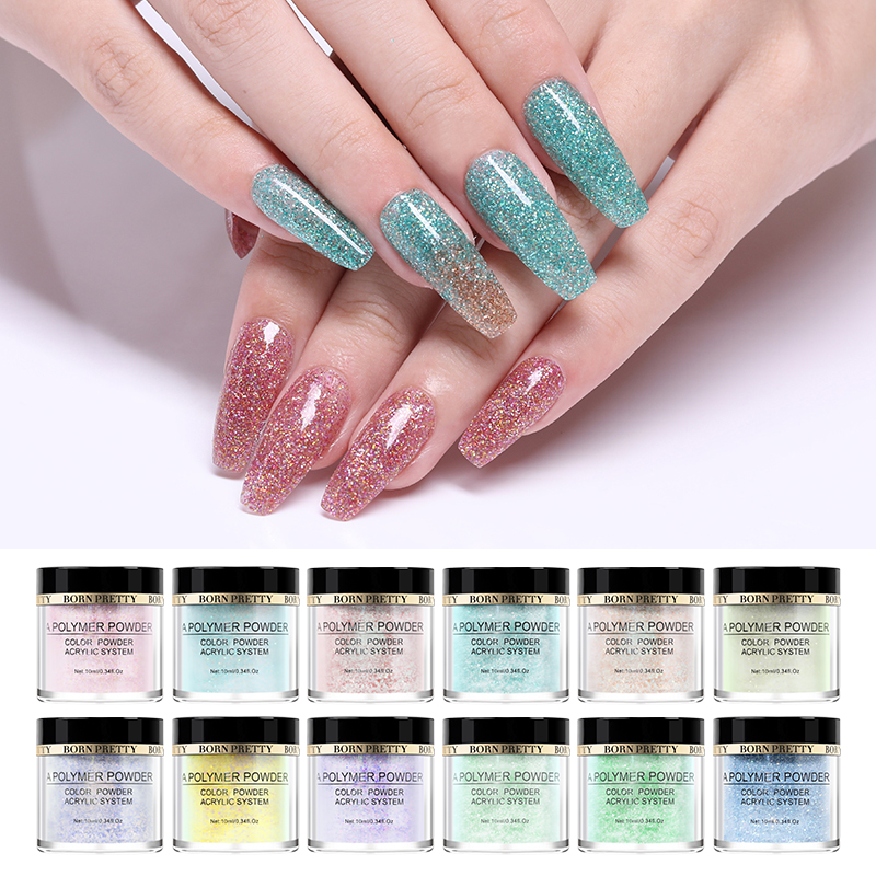 BORN PRETTY Pink Glitter Polymer Powder Acrylic Carving Powder Sequins Nail Art  Tip Extension 12 Colors