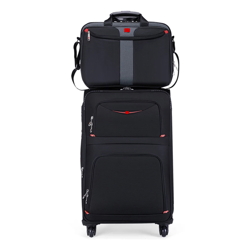 Hot New Swiss Brand business rolling luggage set with handbag universal wheel cloth box men fashion