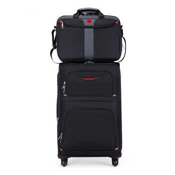 Hot! New Swiss Brand business rolling luggage set with handbag universal wheel cloth box men fashion suitcase trolley travel bag - DISCOUNT ITEM  7 OFF Luggage & Bags
