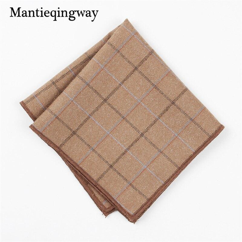 Mantieqingway Mens Suits Pocket Square Handkerchief Plaid & Striped Cotton Hankies Fashion Casual Wedding Handkerchiefs 24*24cm