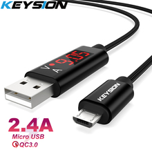 KEYSION Micro USB Cable Digital Display Fast Charge USB Data Cable for Samsung Xiaomi Tablet Android Phone USB Charging Cord digital lcd display micro usb data charging voltage current cable cord for android phone