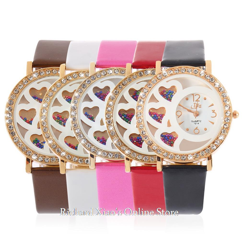 2017 de marca Women's Round Dial Analog Dress Watch with Crystals & Beads Decoration Rhinestone relojes mujer Hot Selling