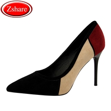 Women Sexy Pointed Toe Pumps 2019 New Faux Suede Basic High Heels 10.5CM Fine With Color Matching Thin Women Wedding Shoes qianruiti pink red yellow faux suede high heels women shoes sexy pointed toe bridal wedding shoes 12cm thin heels women pumps