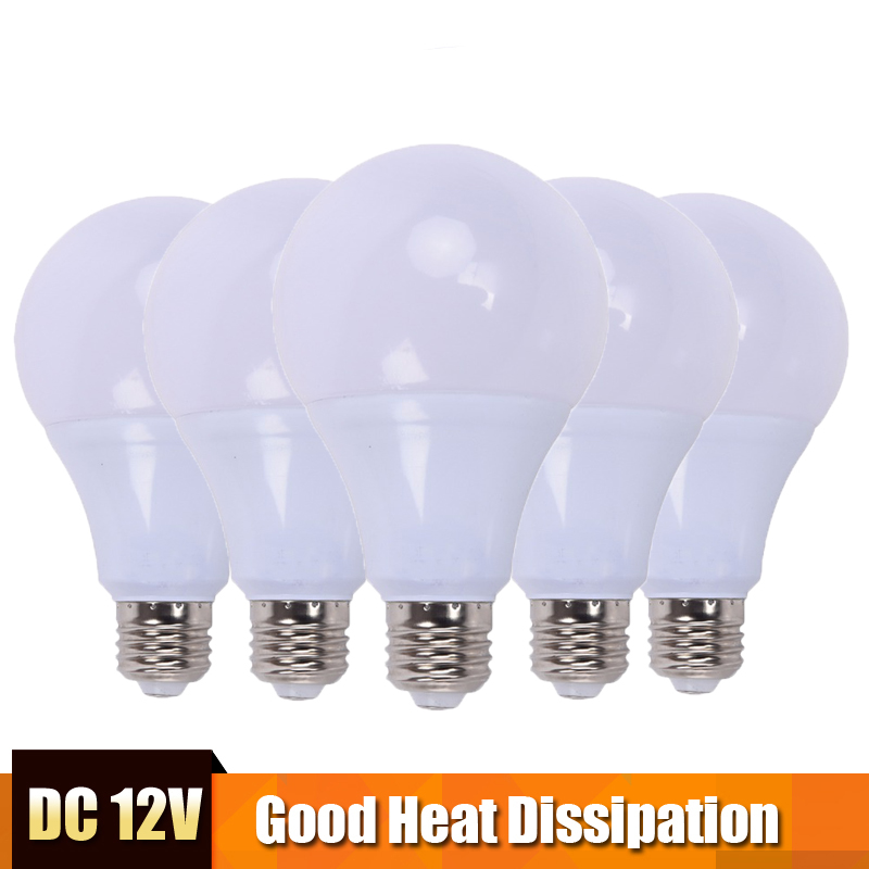 5pcs LED Bulbs 12V DC 15W 12W 9W 7W 5W 3W E27 Cold White LED Lamp Home Camping Hunting Emergency Outdoor Light Lamparas