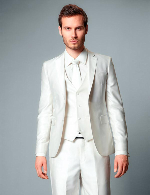 New Arrival Two Button Ivory Groom Tuxedos Groomsmen Mens Wedding ...