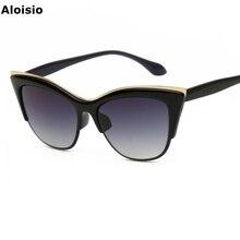 Aloisio Cat Eye Women Sunglasses Cateye Lady Glasses Female Oculos Lunette Las Gafas Vintage Gradient Brand Designer AL714