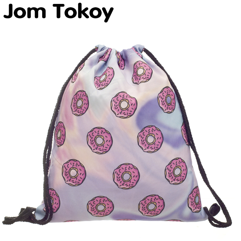 2020 New Fashion Women Holo Donuts Drawstring Backpack 3D Printing Travel Softback Women Mochila Drawstring Bags