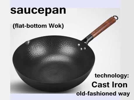 Old-fashioned Casa panelas wok Cozinheiro preto menos-óleo-fumaça Artesanal de ferro Fundido não-stick pan para fogão a gás forno eletromagnético