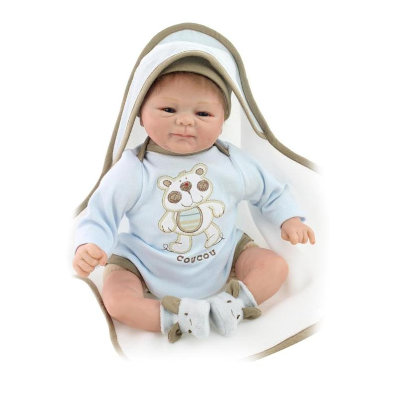 Hot 45cm Silicone Reborn Baby Doll NPK Lifelike Simulation Doll Kids Playmate Gift Alive Soft Toys For Bouquets Doll Bebe Reborn lovely simulation reborn baby doll kids sleeping playmate accompany silicone toys lifelike children high quality toys gift