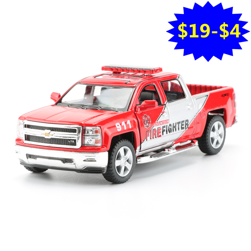 Scale 1:46 Pick-up Police Car Toy, Simulation Pull Back Alloy Firefighter Cars For Boys, Kids Toys, Brinquedos Gift