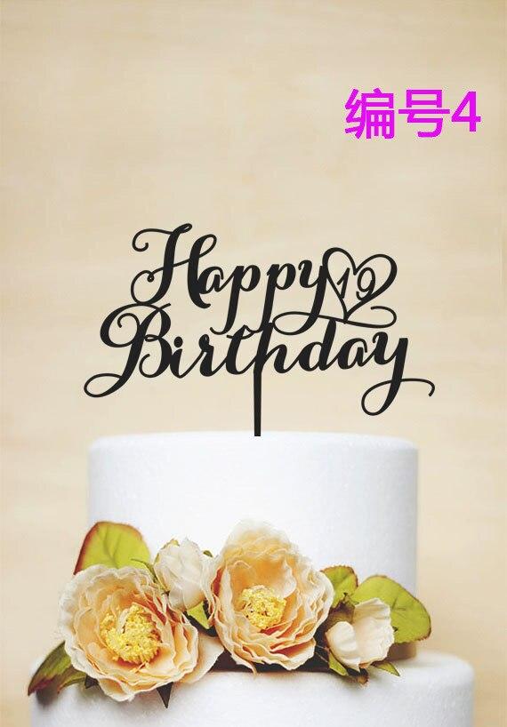 Personalisierte Happy Birthday Name Kuchen Topper Acryl Ersten 6 Arten Geburtstagstorte Banner In