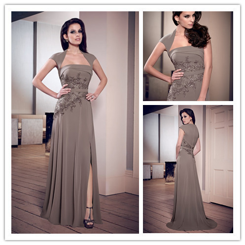 18210884c18 Model Taupe Mother Of The Bride Groom Dresses Elegant Fold Beaded