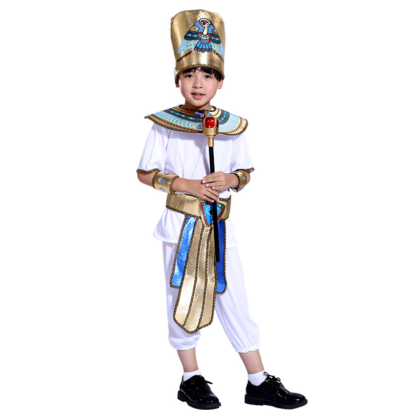 HUIHONSHE Halloween Costume  Kids Arabian Children Egyptian Pharaoh Samurai Priest Prince Cleopatra for Girls Boy Cosplay