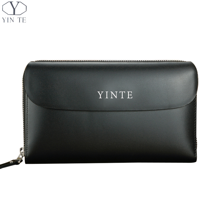 YINTE Leather Mens Clutch Wallets Business Men Hand Bags Black Bag Men Purses Card Holder Passport Purse Men Wrist Bags T8028-3 ...
