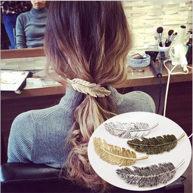 Vintage Women Hairpin Metal Gold Barrette Leaf Clip Girl Feather Hairgrip Antique Spring Ponytail Lady Jewelry Hair Accessories characteristic metal leaf pattern hairpin for women (one piece