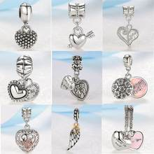 2018 New Silver Plated Bead Charm Angel Wing With Gold Love Heart Pendant Beads Fit pandora Bracelet & Bangle DIY Jewelry(China)