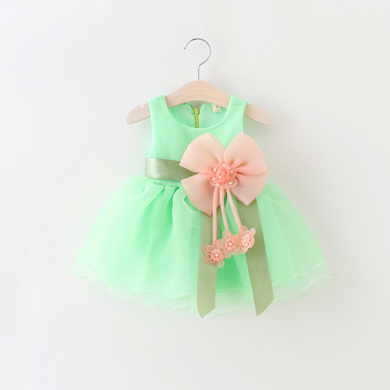 Girls' Clothing Delicious Summer Fashion Baby Girl Denim Dress Sleeveless Bow Knot Floral Dress Toddler Princess Button Sundress High Rated Clothes Sale Price