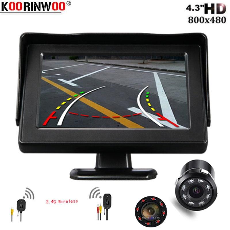 Koorinwoo Intelligent Dynamic Trajectory Moving Guide Wireless 2.4G Car Backup Rear View Camera + 4.3 inch Screen Mirror Monitor|Vehicle Camera| |  - title=