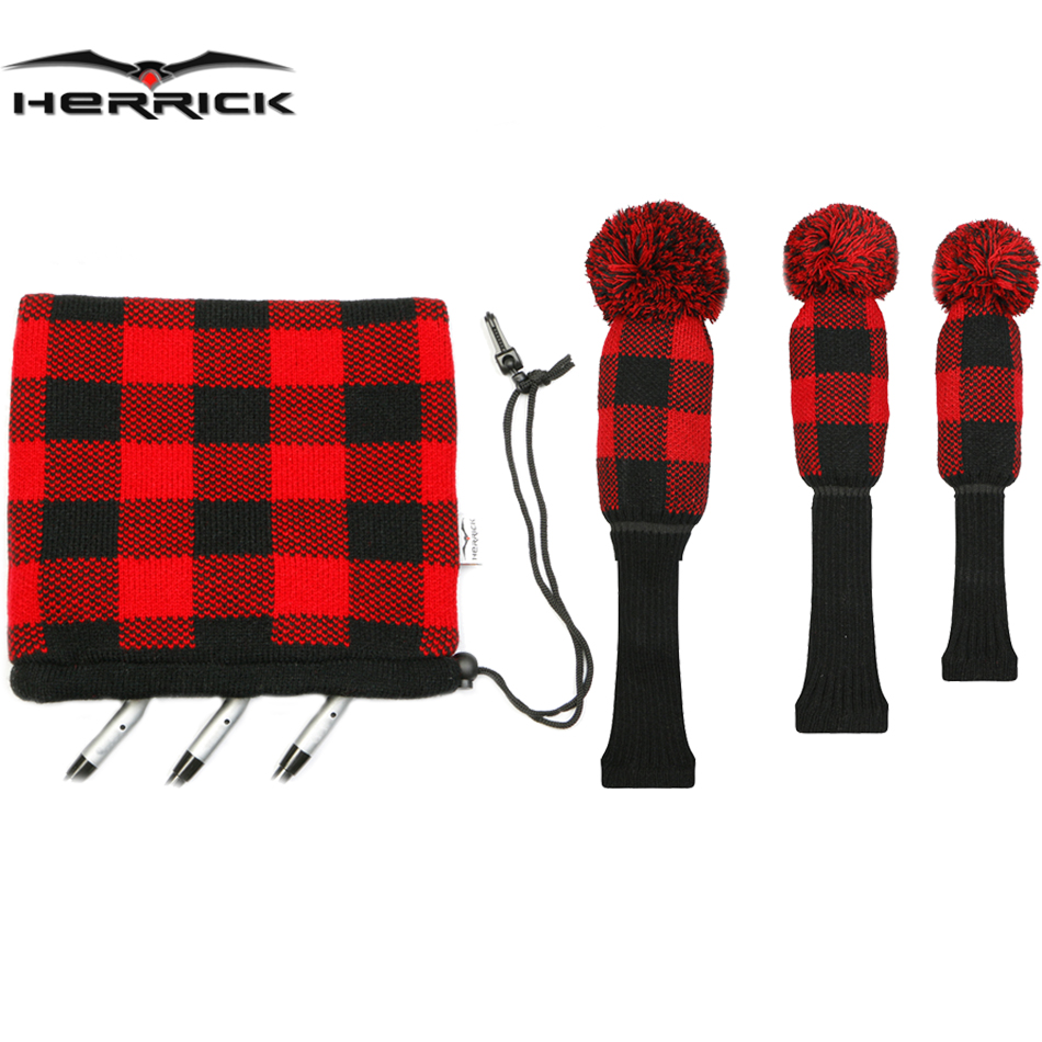 Golf Clubs headcover knitting wool covers  Fairway Wood and irons headcover Combination suit Four color to shoose