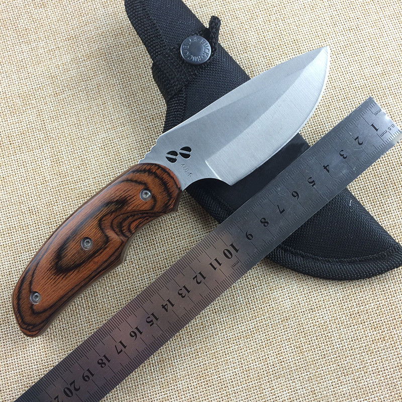 WTT Brand Fixed Straight font b Knife b font 440C Blade Wood Handle font b Tactical