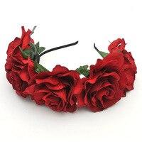 Mode de Nouvelles Fleurs Artificielles De Mariage Guirlande Floral Mariée Rose Coiffe Bandeau Partie De Bal Festival Décor Princesse Guirlande
