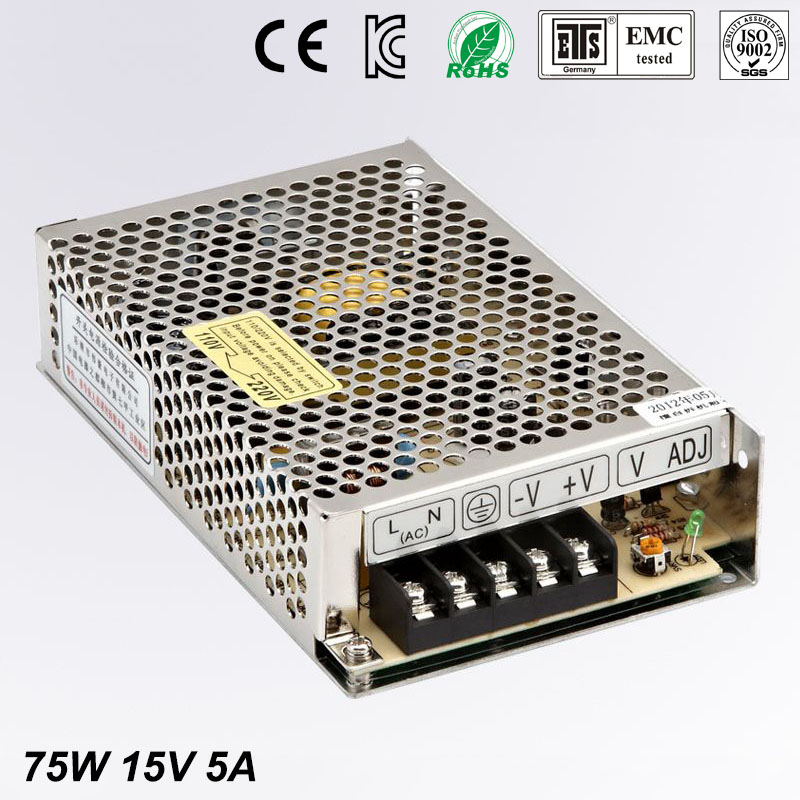 Best quality 15V 5A 75W Switching Power Supply Driver for LED Strip AC 100-240V Input to DC 15V free shipping best quality 5v 2a 10w switching power supply driver for led strip ac 100 240v input to dc 5v free shipping