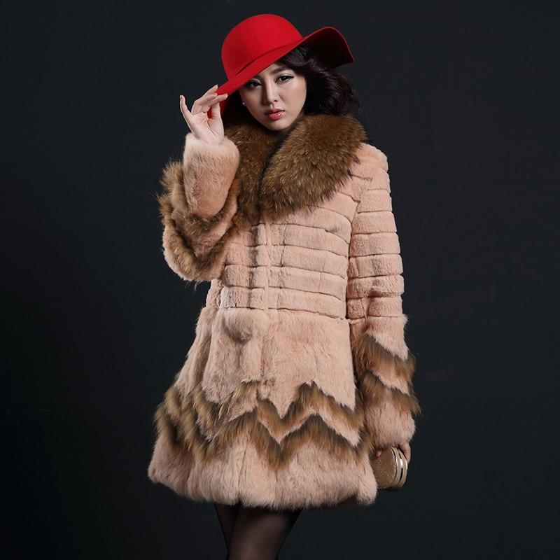 2017 Automne Hiver Femmes de Véritable Réel De Fourrure De Lapin Manteau Fourrure De Raton Laveur Collier Femme Moyen-long Survêtement Vêtement Plus taille 0047