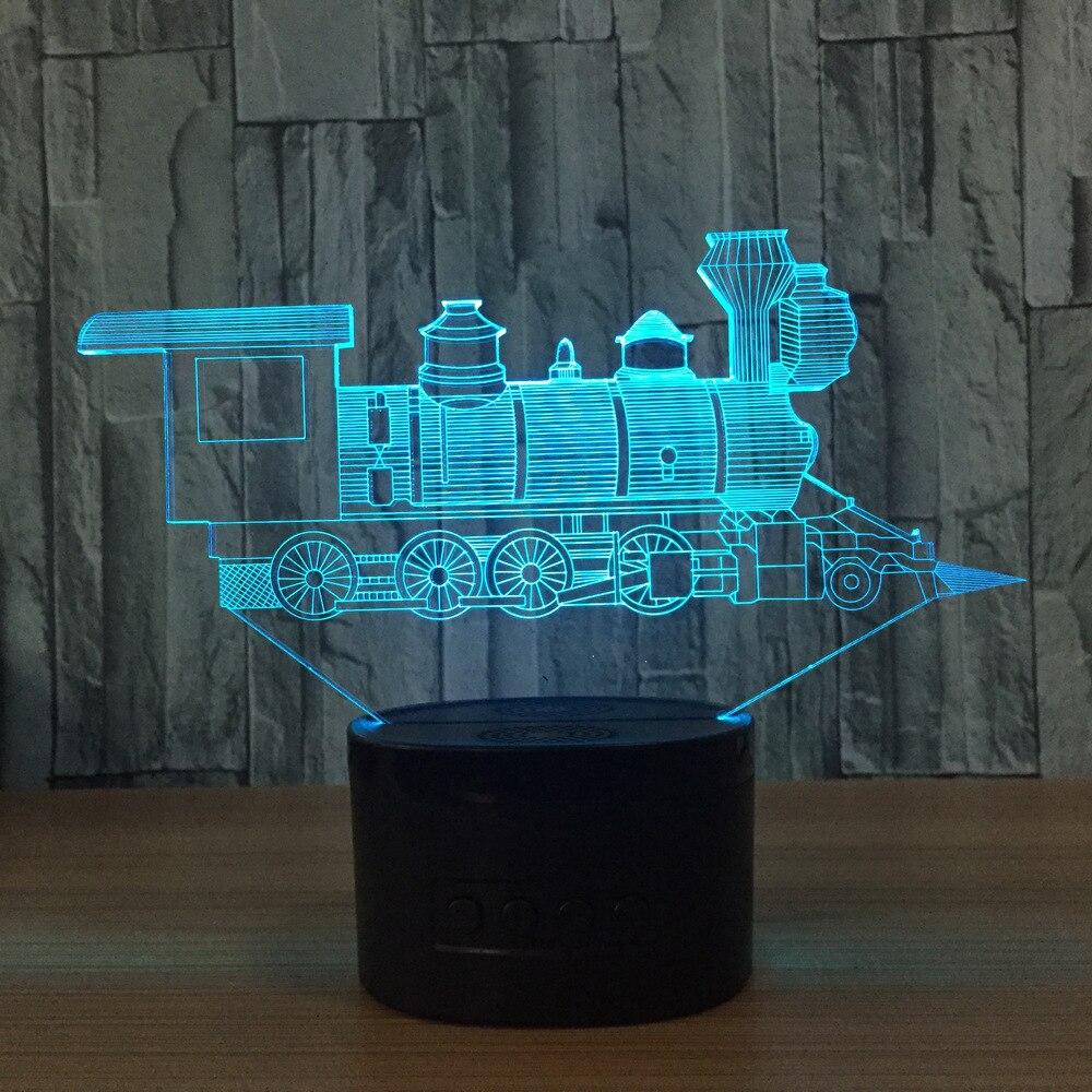 N414 3D Поезд огни фигурку модель Стиль светодиодные лампы 7 цветов Изменение атмосфера  ...