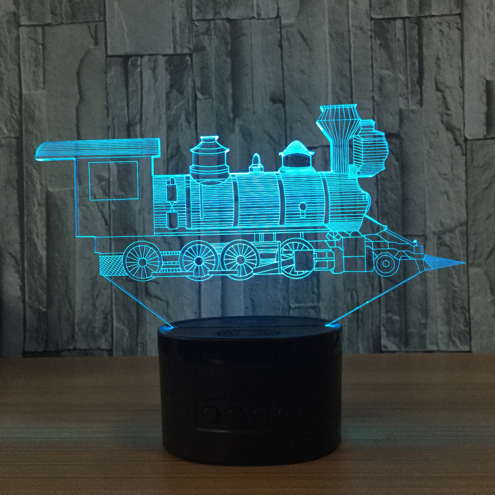 N414 3D Train Lights Action Figure Model Style LED Lamp 7 Color Changing Atmosphere Bedroom Lamp Home Table Decor Lamp