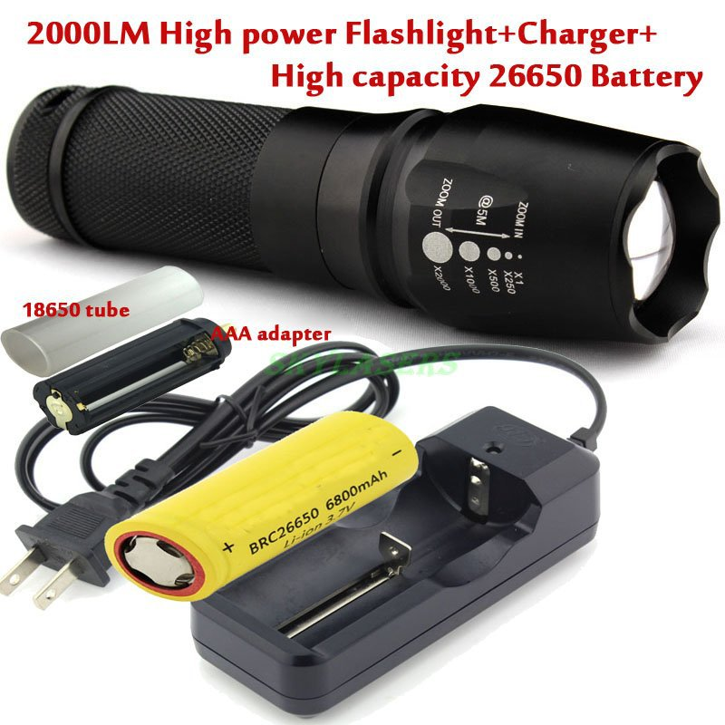 Zoomable CREE XM-L T6 2000 Lumens 26650/18650/AAA Zoom LED Flashlight Torch + 6800Mah 26650 battery + Charger hot selling zoomable focus 3000lm cree xm l t6 led 18650 26650 aaa flashlight torch