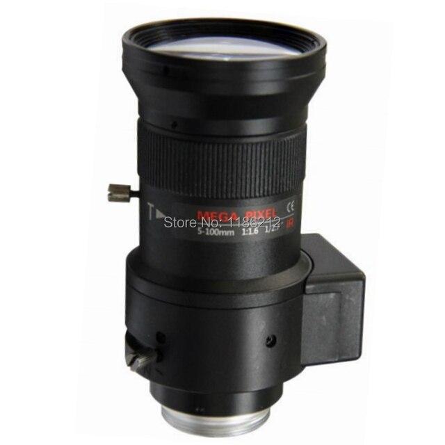 Objectif de vidéosurveillance HD 2 mégapixels   5-100mm F1.6 1/2.7 pouces DC conduit Auto Iris Vari Focal, objectif de montage CS pour caméras ip, lentille à faible distorsion IR