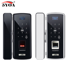 Cerradura electrónica Digital de cristal con huella dactilar para puerta, para el hogar, antirrobo, contraseña inteligente RFID, abridor inteligente de tarjeta independiente