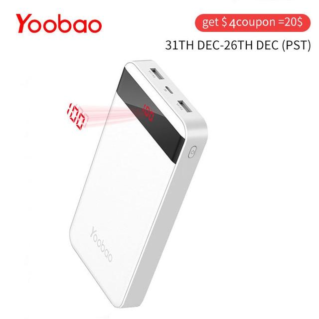 Yoobao m20pro 20000 мАч повербанк с 2 интерфейсами входа и 2 интерфейсами выхода (Lightning&Mircro вход) внешний аккумулятор для телефонов