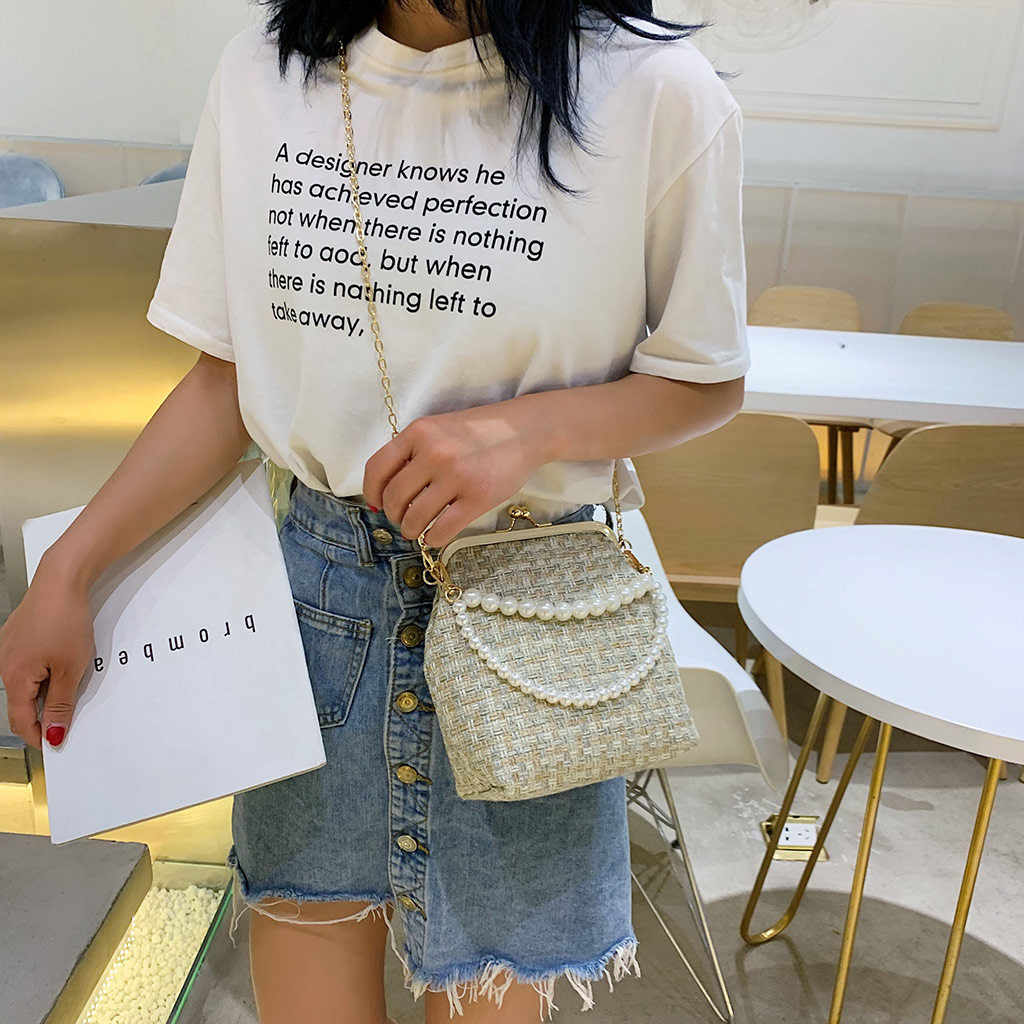 Coneed 2019 mujeres verano portátil perla Clip tejido bandolera bolso Vintage bandolera mujer 26 de junio P35