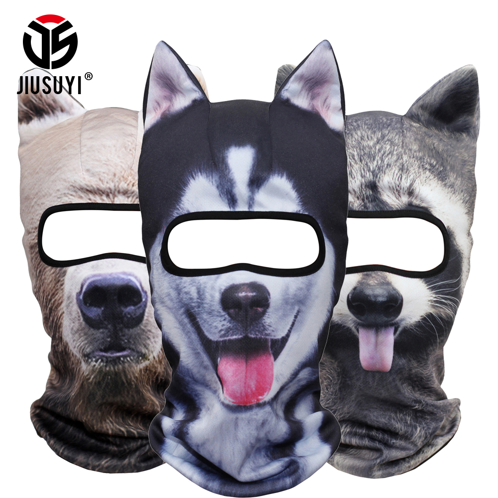 3D Animal Ears Balaclava Neck Warmer Face Mask Costume Halloween Fox Cat Dog Panda Bear Winter Snowboard Windproof Face Mask