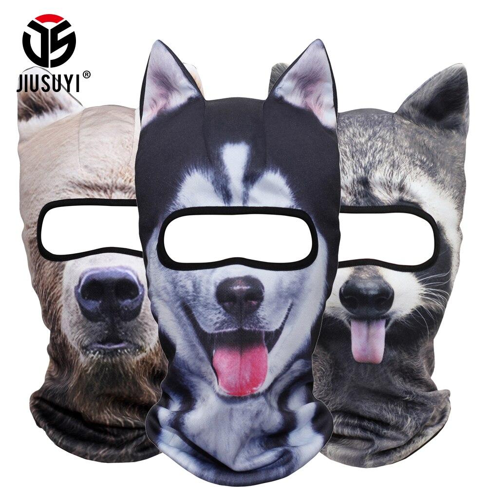 3D orejas animales pasamontañas cuello cara máscara traje de Halloween Fox gato perro oso Panda invierno Snowboard a prueba de viento cara máscara